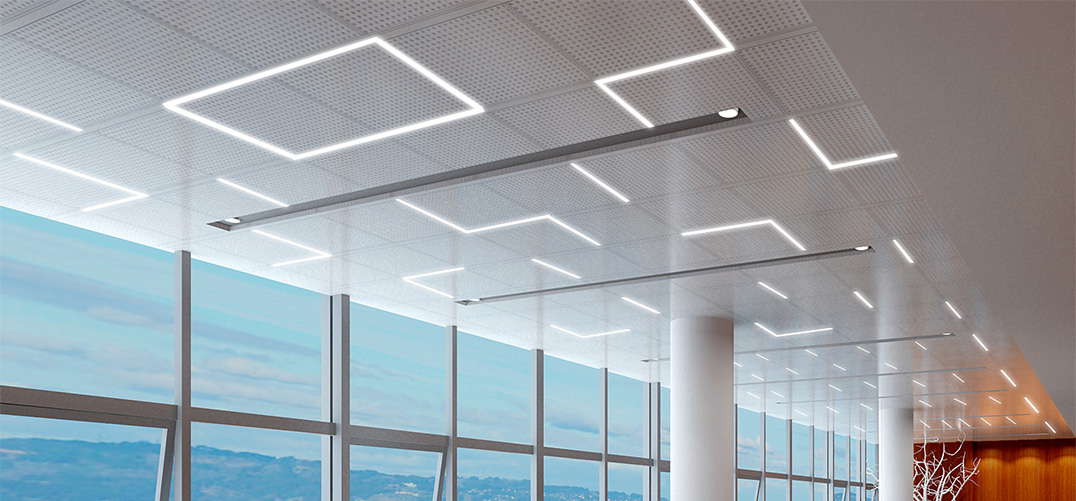custom pattern of t-grid led light fixture