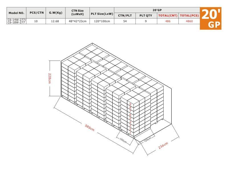 C6 277V 20'GP Load Plan