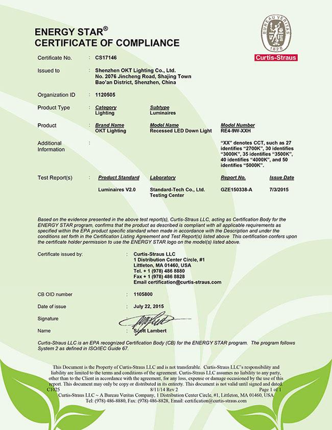 Energy Star for RE4-9W-XXH 4inch Eco Retrofit Downlight