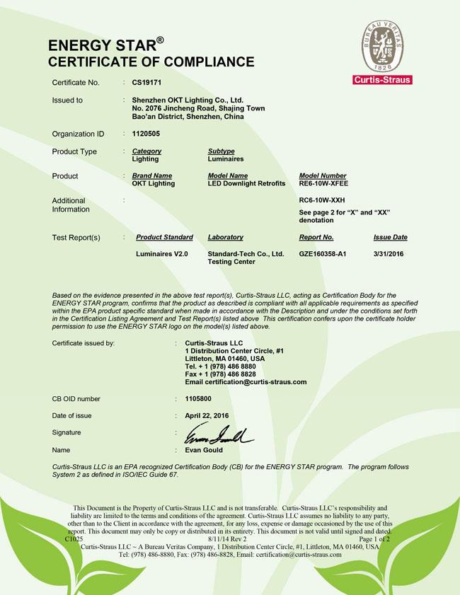 Energy Star For Eco LED Residential Downlight 2.0