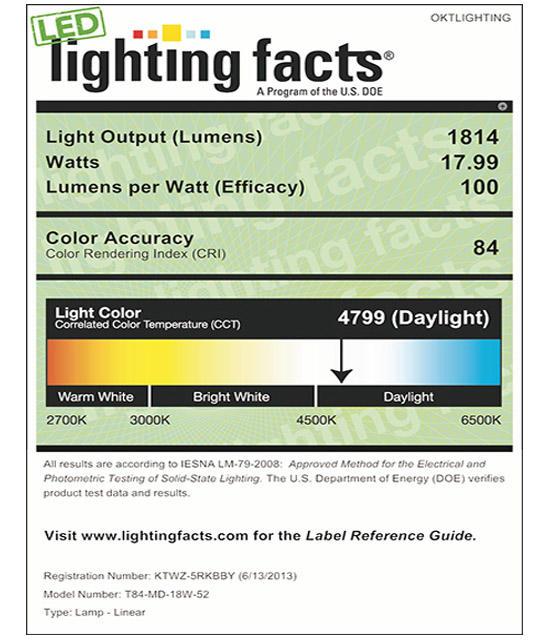 Lighting Facts For 5000K T84 18W  LED Tube Light