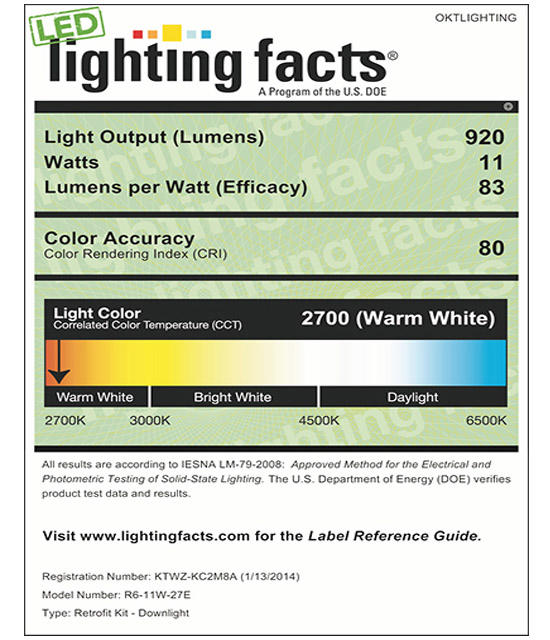 Lighting Facts For 2700K 6inch 11W LED Retrofit Downlight