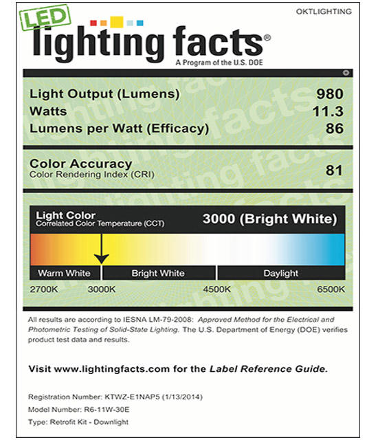 Lighting Facts For 3000K 6inch 11W LED Retrofit Downlight