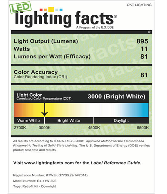 Lighting Facts For 3000K 4inch 11W LED Retrofit Downlight