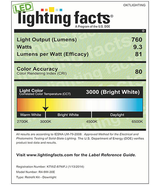 Lighting Facts For 3000K 4inch 9W LED Retrofit Downlight
