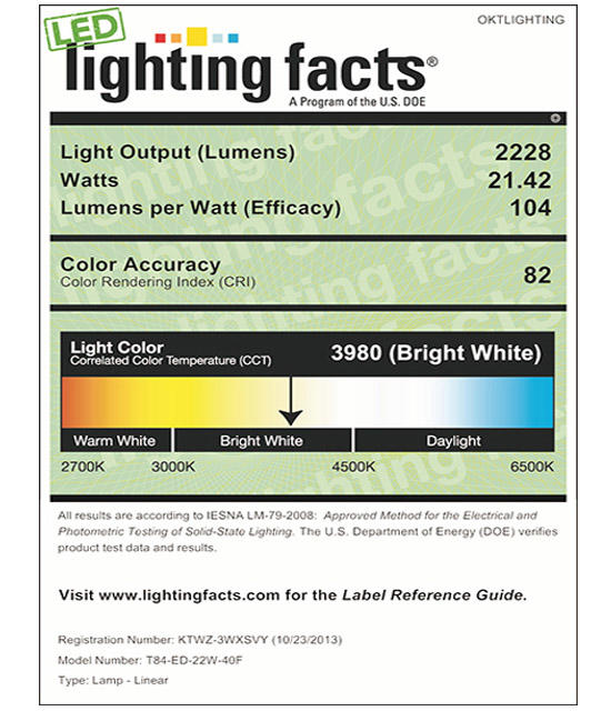Lighting Facts For 4000K T84 22W External Driver LED Tube Light