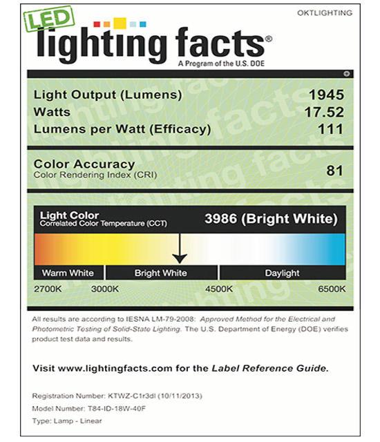 Lighting Facts For 4000K T84 18W Internal Driver LED Tube Light