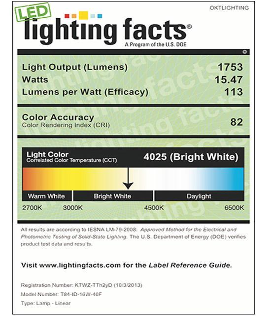 Lighting Facts For 4000K T84 16W Internal Driver LED Tube Light