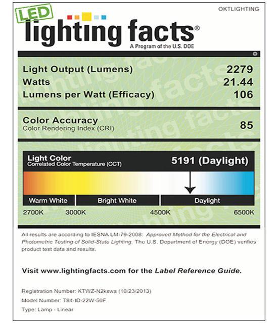 Lighting Facts For 5000K T84 22W Internal Driver LED Tubel Light
