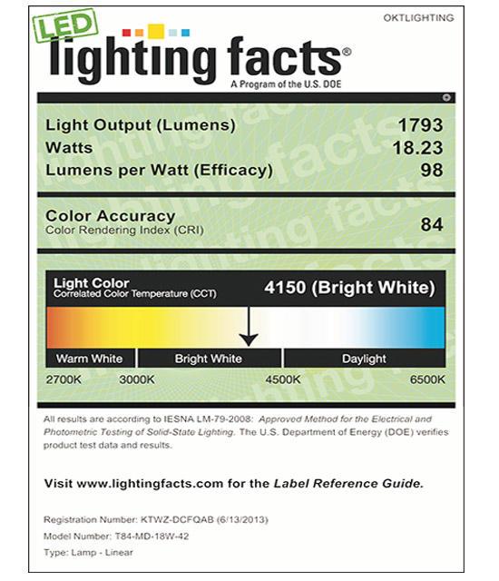 Lighting Facts For 4000K T84 18W LED Tube Light