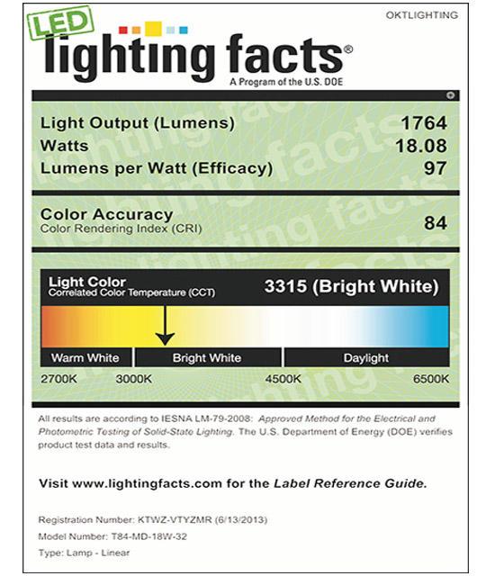 Lighting Facts For 3000K T84 18W LED Tube Light