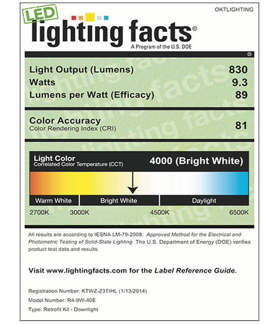 Lighting Facts For 4000K 4inch 9W LED Retrofit Downlight
