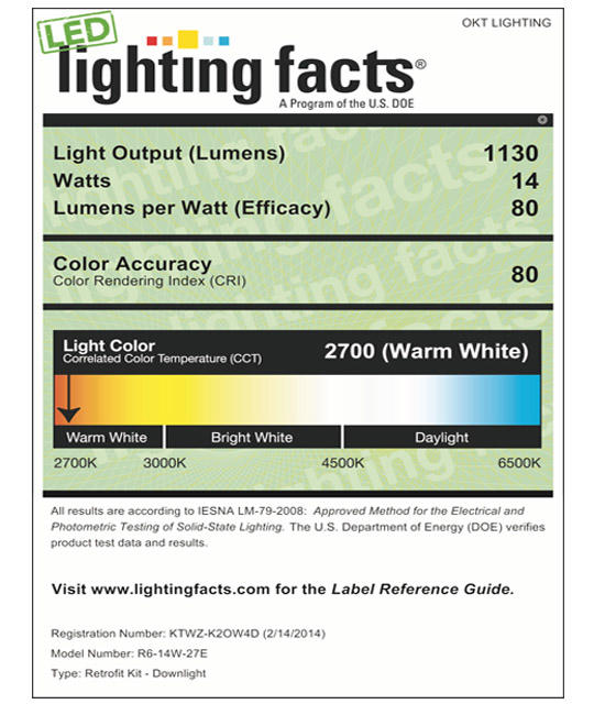 Lighting Facts For 2700K 6inch 14W LED Retrofit Downlight