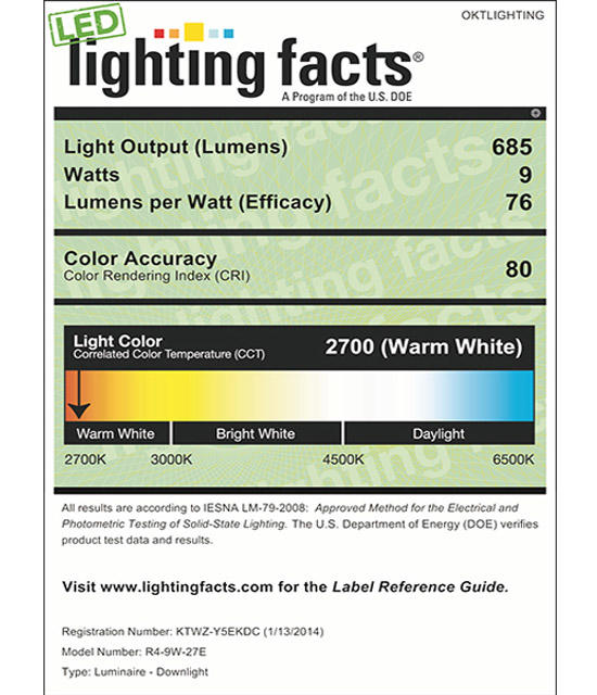 Lighting Facts For 2700K 4inch 9W LED Retrofit Downlight