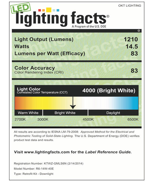 Lighting Facts For 4000K 6inch 14W LED Retrofit Downlight