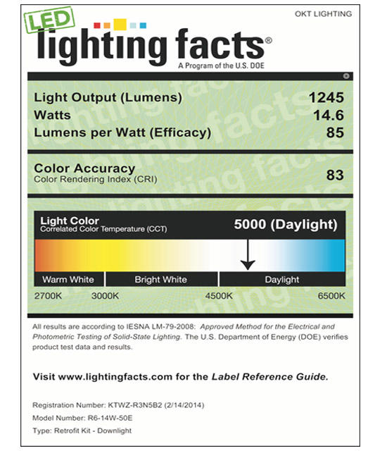 Lighting Facts For 5000K 6inch 14W LED Retrofit Downlight