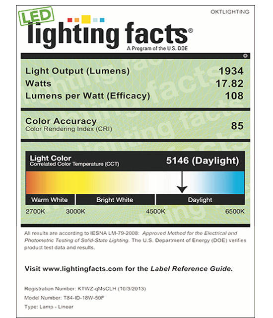 Lighting Facts For 5000K T84 18W Internal Driver LED Tubel Light