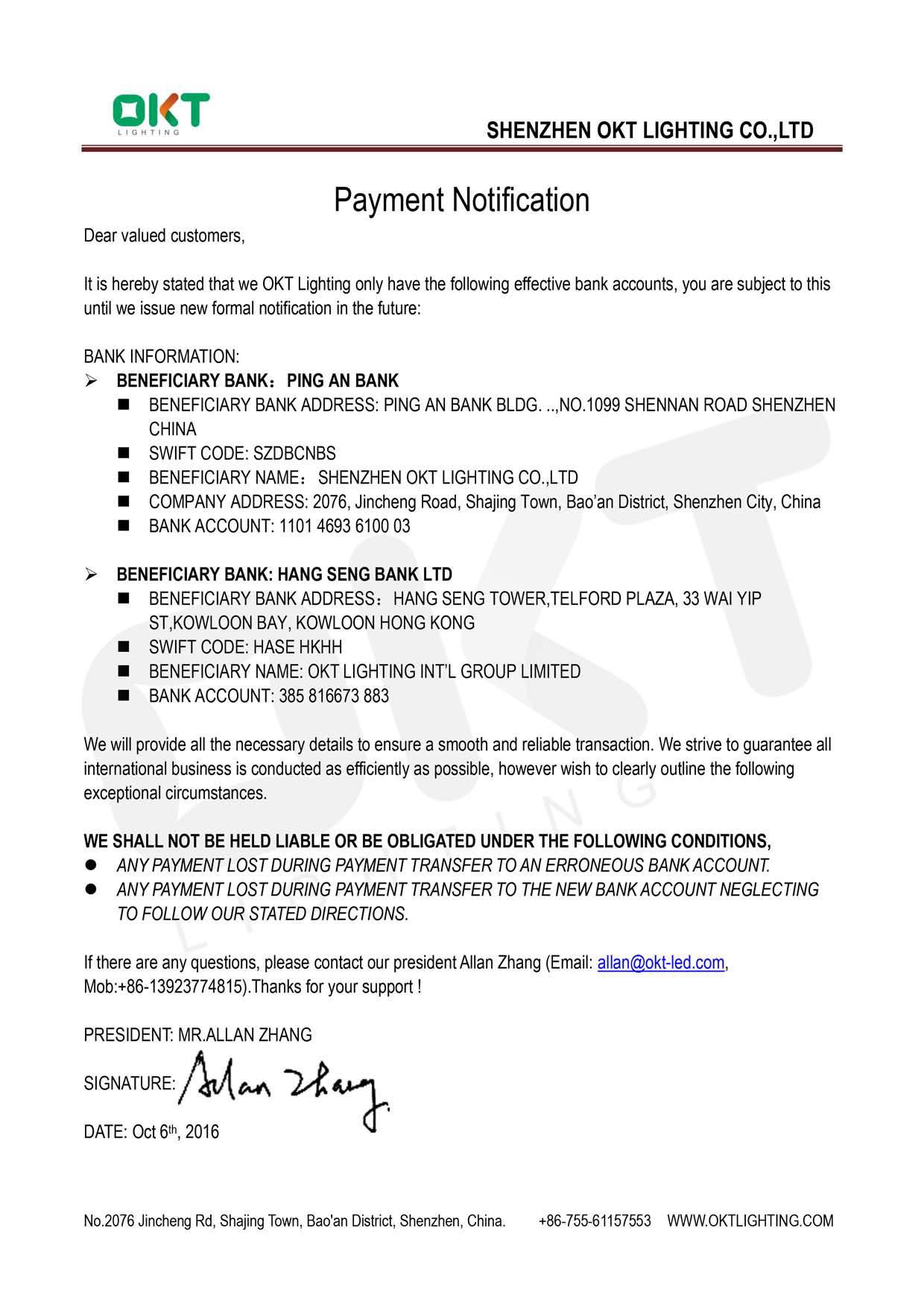 OKT Lighting Payment Notification