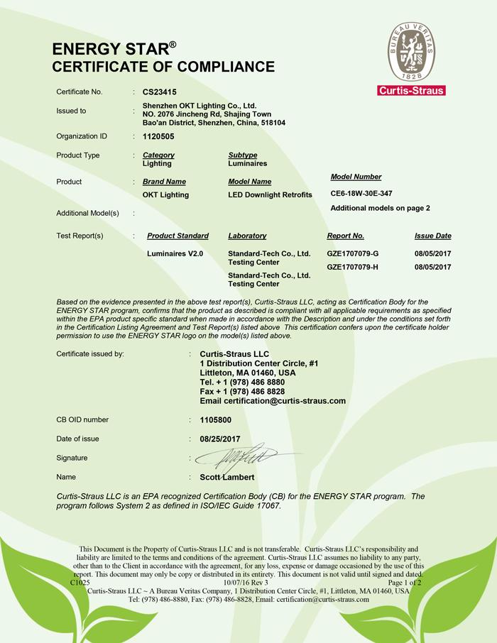 Energy Star For 347V 18Watt Commercial LED Downlight