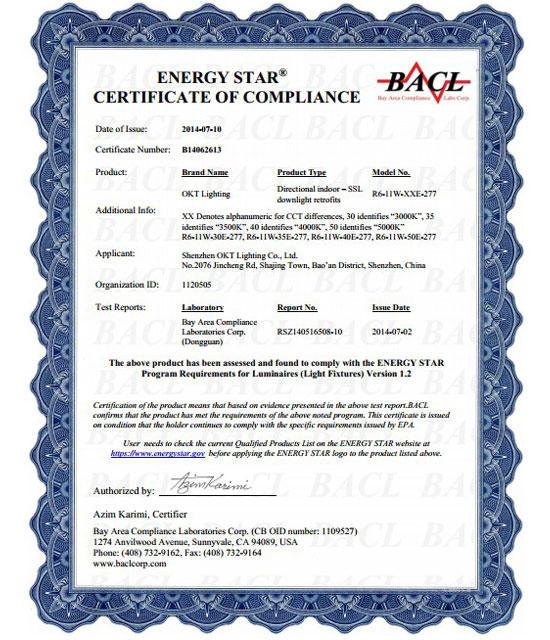 Energy Star For 100-277V 6inch 11W LED Residential Downlight
