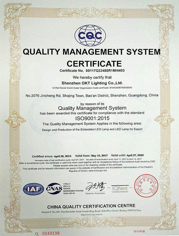 ISO9001 For Quality Management System Certificate