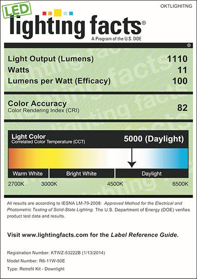 Lighting Facts For 4000K 6inch 11W LED Retrofit Downlight